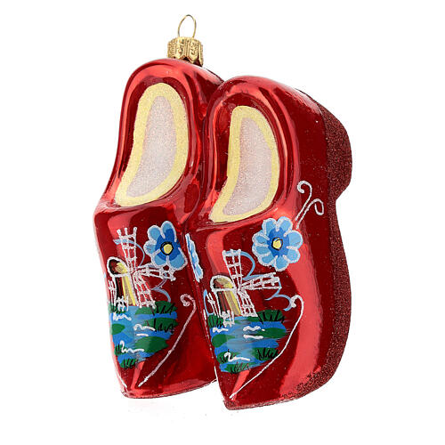 Blown glass Christmas ornament, wooden clogs 3