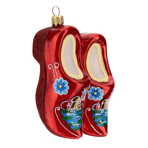Blown glass Christmas ornament, wooden clogs 4