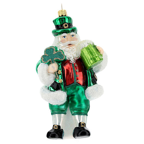 Papá Noel irlandés decoración Árbol vidrio soplado 1