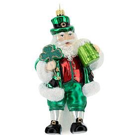 Blown glass Christmas ornament, Irish Santa Claus s1