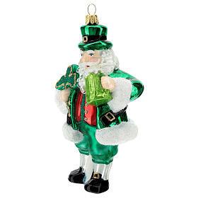 Blown glass Christmas ornament, Irish Santa Claus s2
