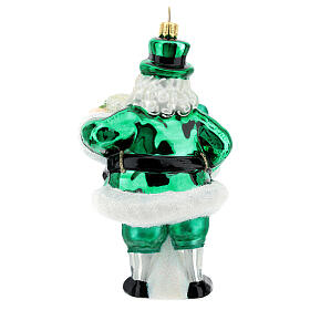 Blown glass Christmas ornament, Irish Santa Claus s4