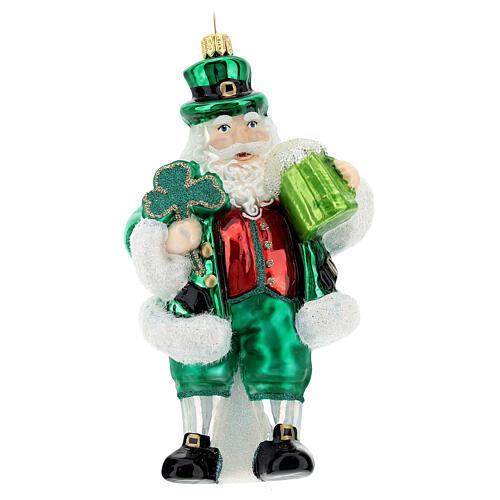Blown glass Christmas ornament, Irish Santa Claus 1