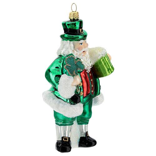 Blown glass Christmas ornament, Irish Santa Claus 3
