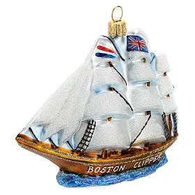 Clipper Ship Christmas tree decoration in blown glass s2