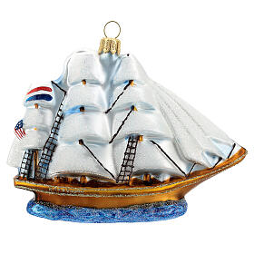 Clipper Ship Christmas tree decoration in blown glass s4