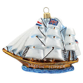 Blown glass Christmas ornament, Clipper ship s1