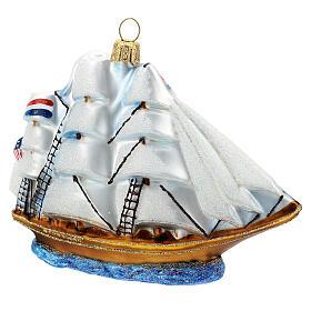 Blown glass Christmas ornament, Clipper ship s3