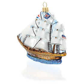 Blown glass Christmas ornament, Clipper ship s5
