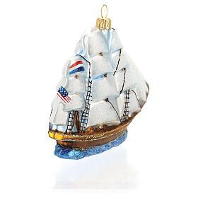 Blown glass Christmas ornament, Clipper ship s6