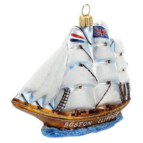 Blown glass Christmas ornament, Clipper ship 2