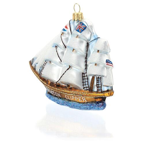 Blown glass Christmas ornament, Clipper ship 5