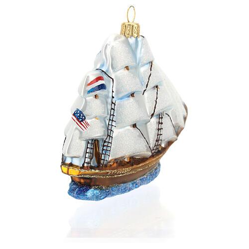 Blown glass Christmas ornament, Clipper ship 6