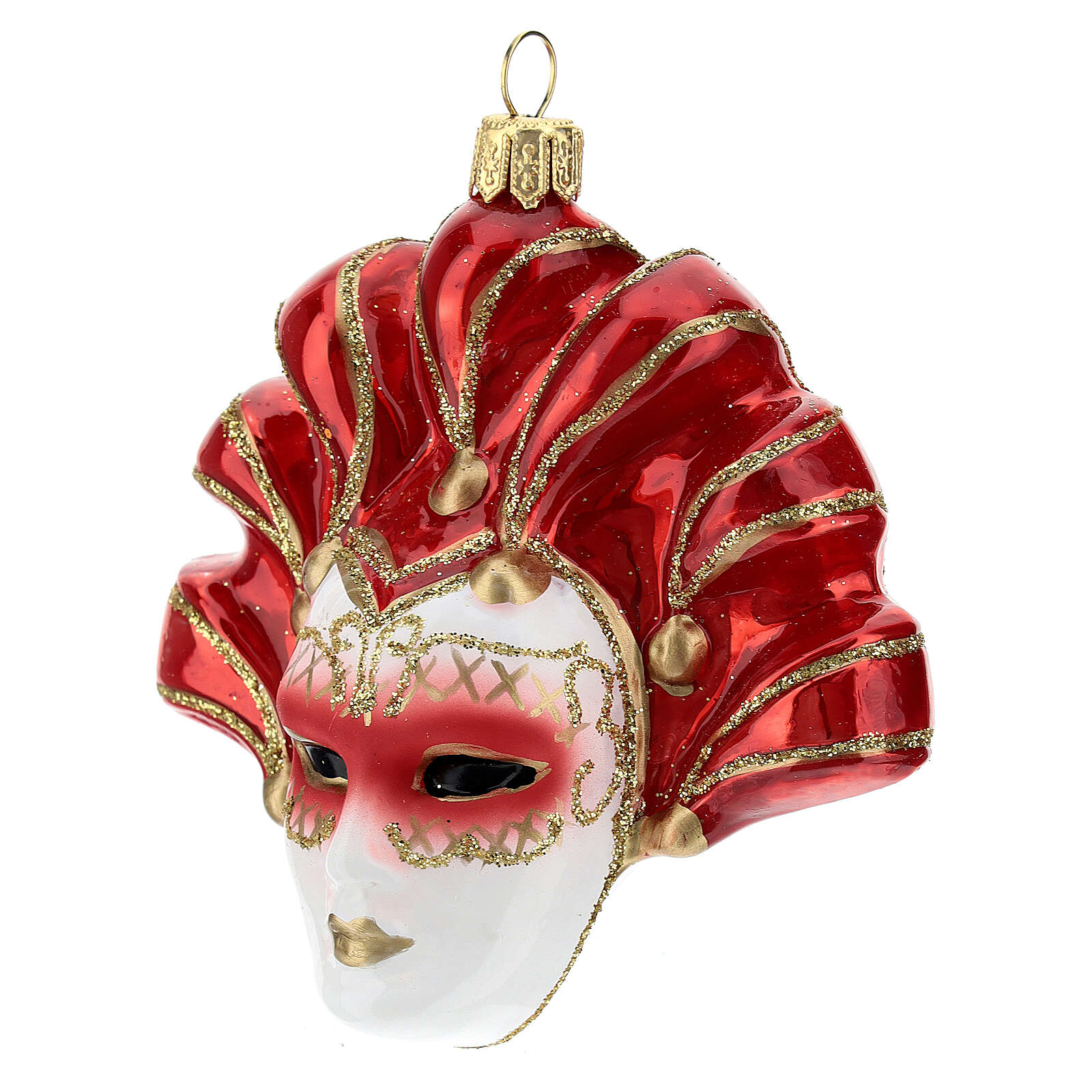 Red Venetian Mask Christmas tree decoration in blown glass 4