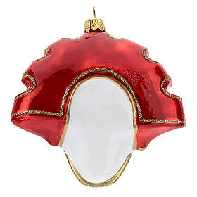 Red Venetian Mask Christmas tree decoration in blown glass s4