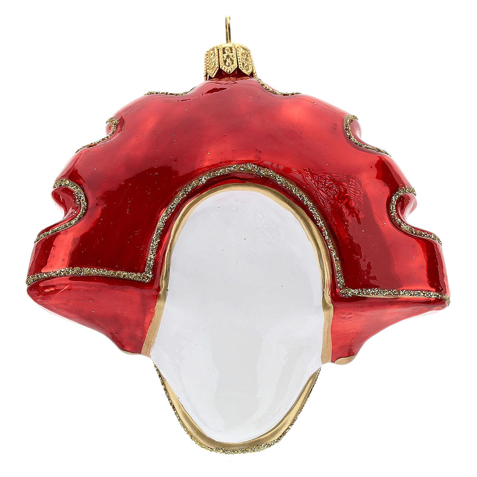 Máscara veneciana roja adorno árbol Navidad vidrio soplado 4