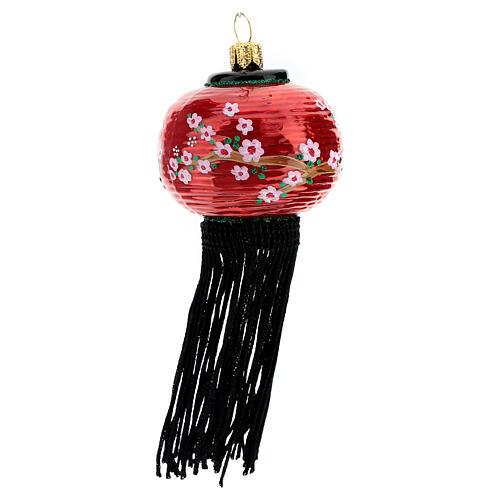 Linterna china adorno vidrio soplado árbol Navidad 3
