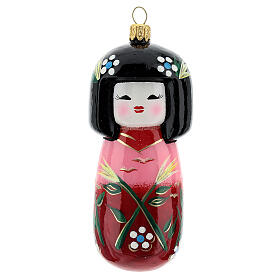 Kokeshi doll Christmas tree decoration in blown glass s1