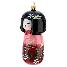 Muñeca Kokeshi japonesa vidrio soplado árbol Navidad s2