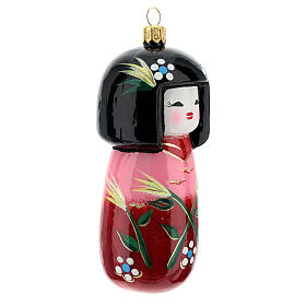 Muñeca Kokeshi japonesa vidrio soplado árbol Navidad s3