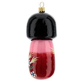 Blown glass Christmas ornament, Kokeshi doll s4