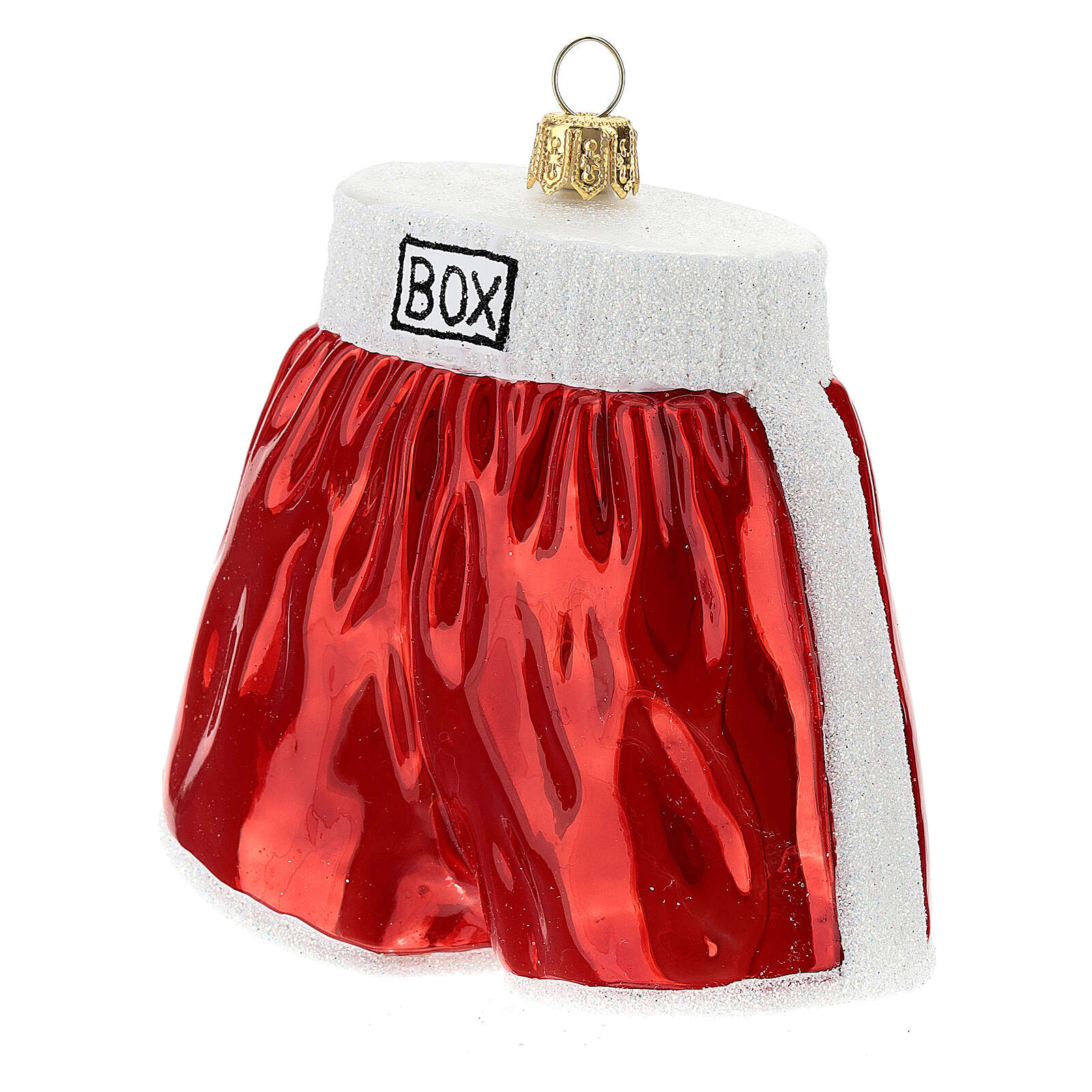 Blown glass Christmas ornament, boxing shorts 4