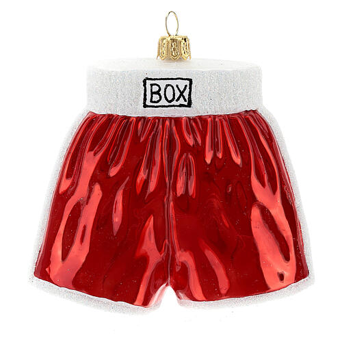 Blown glass Christmas ornament, boxing shorts 1