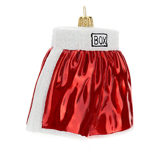 Blown glass Christmas ornament, boxing shorts 3