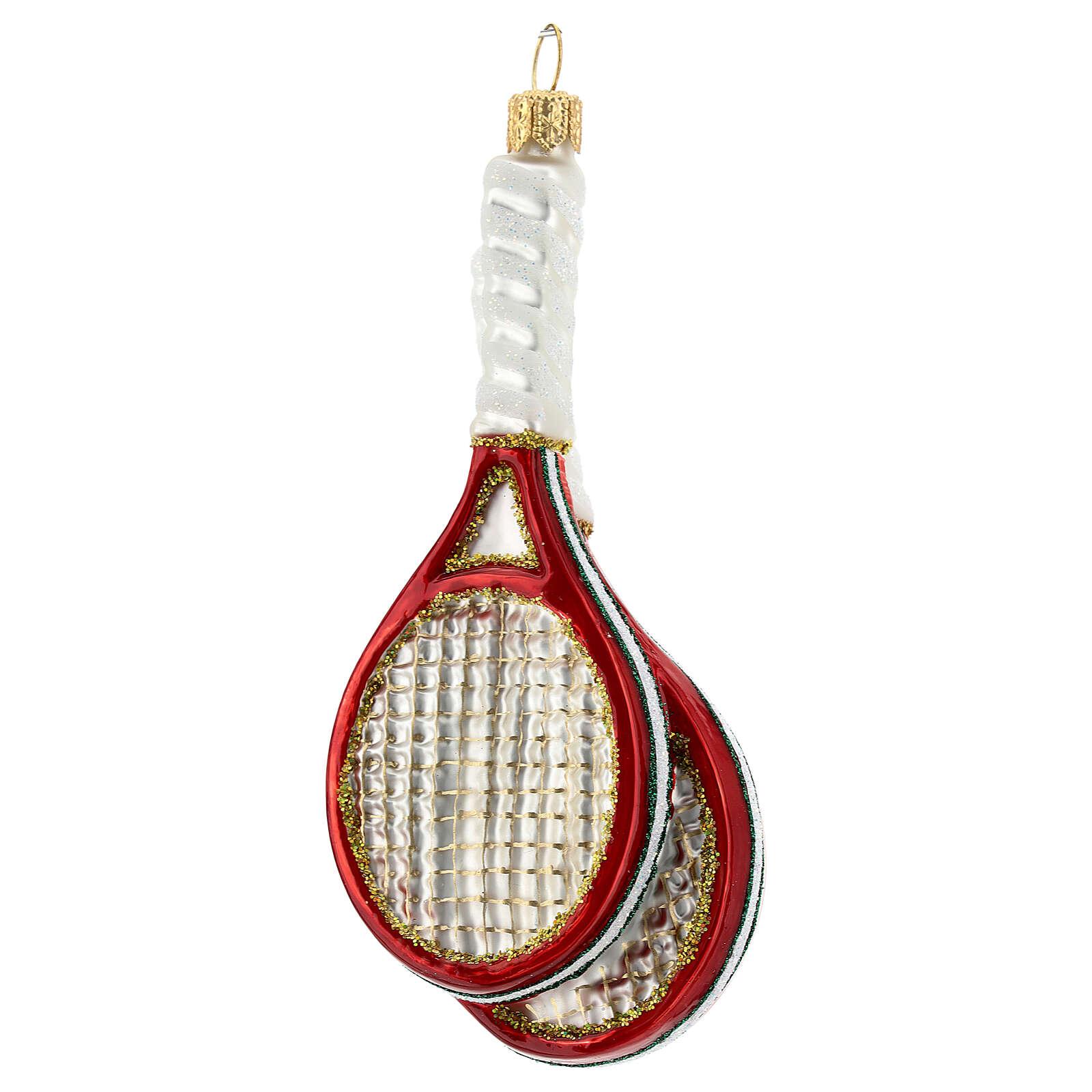 Raquetas de tenis y pelota decoración vidrio soplado árbol Navidad 4