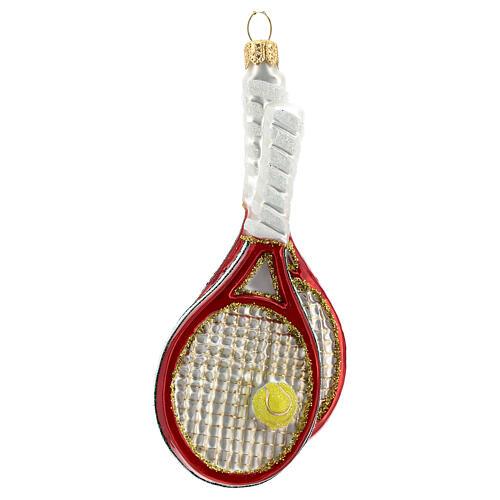 Raquetas de tenis y pelota decoración vidrio soplado árbol Navidad 1