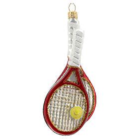 Racchette da tennis e palla decoro vetro soffiato albero Natale s1