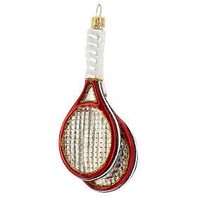 Racchette da tennis e palla decoro vetro soffiato albero Natale s4