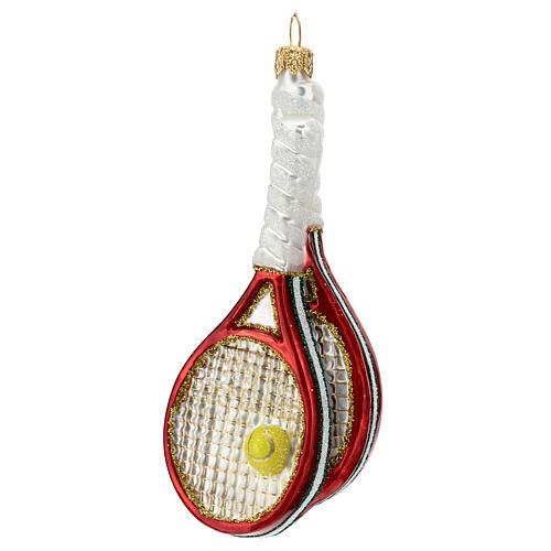 Racchette da tennis e palla decoro vetro soffiato albero Natale 2