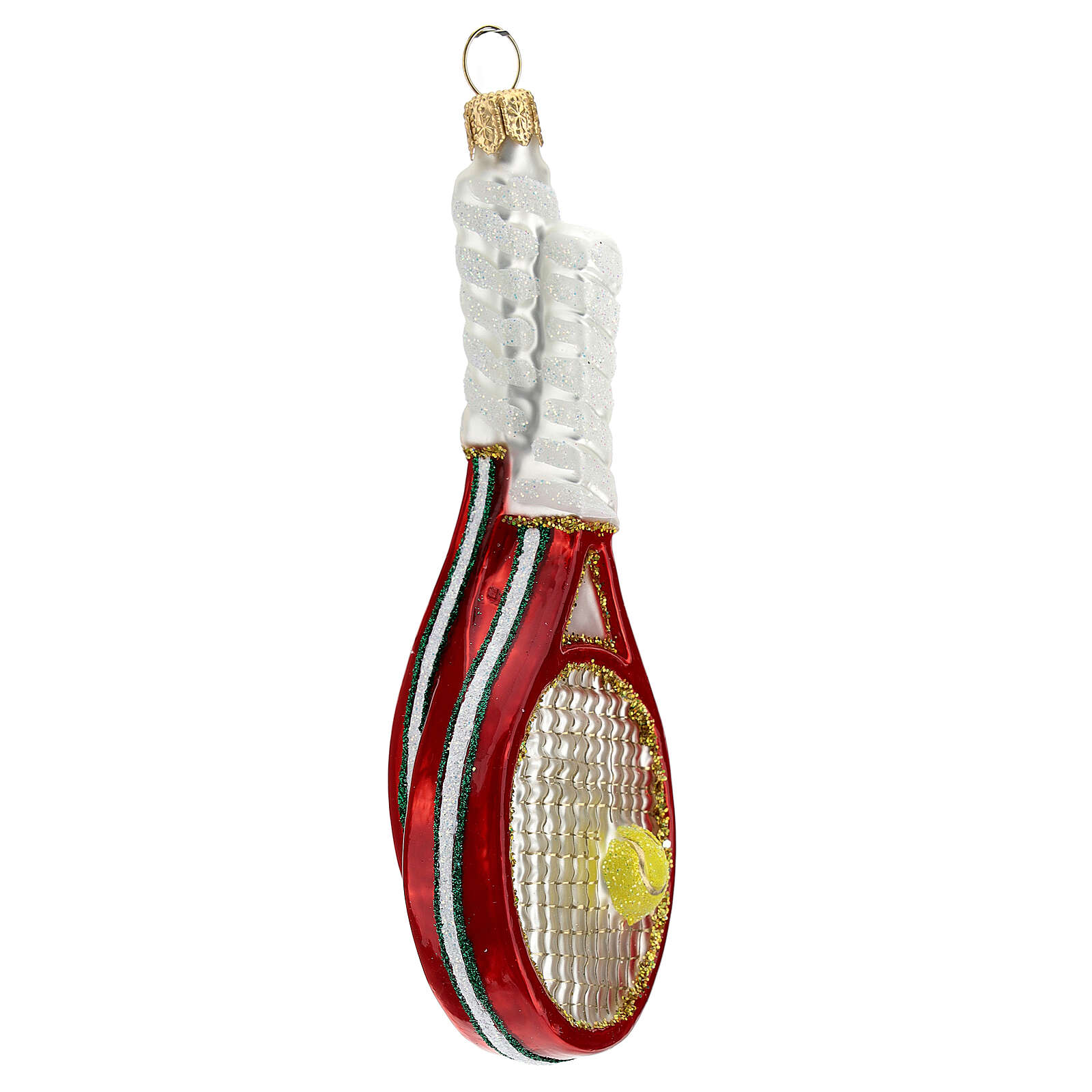 Blown glass Christmas ornament, tennis rackets and ball 4