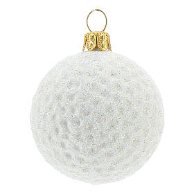 Golf ball Christmas tree decoration in blown glass s1