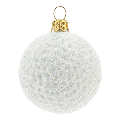 Golf ball Christmas tree decoration in blown glass 1