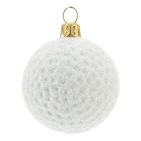 Blown glass Christmas ornament, golf ball s1