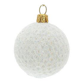 Blown glass Christmas ornament, golf ball s2