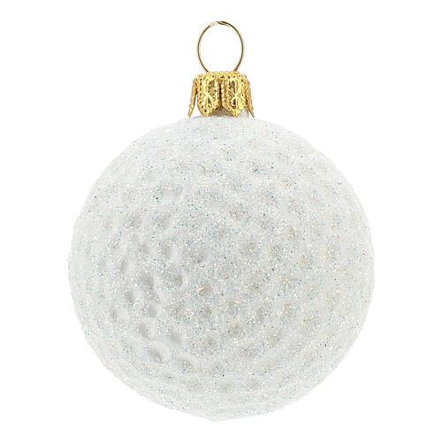 Blown glass Christmas ornament, golf ball 1