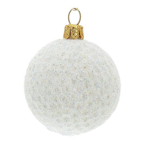 Blown glass Christmas ornament, golf ball 2
