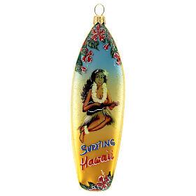 Tabla de surf adorno navideño vidrio soplado para Árbol s1