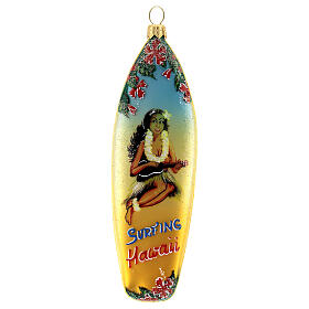 Blown glass Christmas ornament, surfboard s1