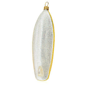 Blown glass Christmas ornament, surfboard s5