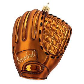 Blown glass Christmas ornament, baseball glove s1