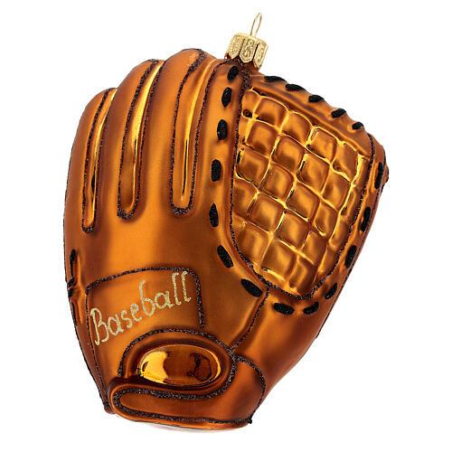 Blown glass Christmas ornament, baseball glove 1