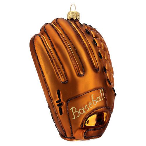 Blown glass Christmas ornament, baseball glove 2