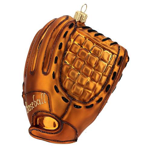 Blown glass Christmas ornament, baseball glove 3