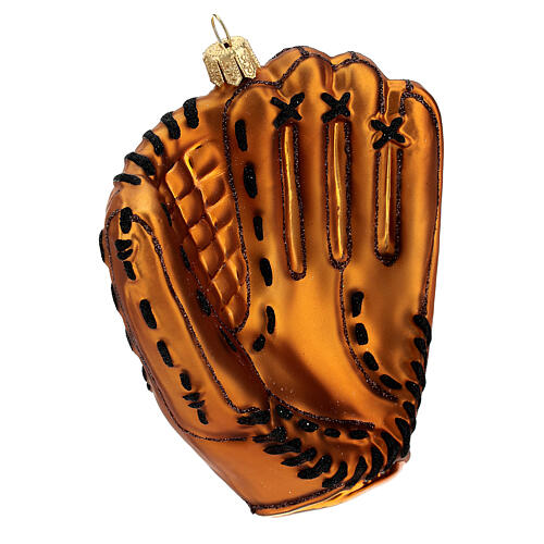 Blown glass Christmas ornament, baseball glove 4