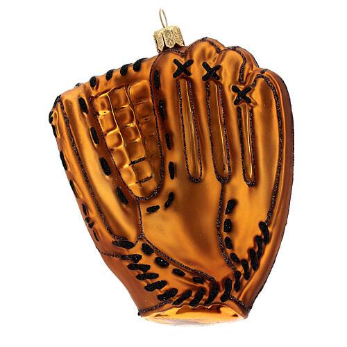 Blown glass Christmas ornament, baseball glove 5
