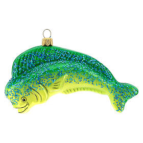 Blown glass Christmas ornament, dolphinfish s1
